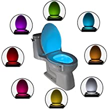 The Original Toilet Night Light Gadget. Fun Bathroom Motion Sensor Activated LED Lighting. Weird Novelty Funny Birthday Christmas Xmas Holiday Stocking Stuffers Gag Gifts for Men Dad Boys Toddlers Mom