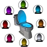 The Original Toilet Night Light Gadget - Fun Bathroom Lighting for Toilet Seat - Motion Sensor Activated LED - 9 Color Modes - Weird Novelty Funny Birthday Gag Gifts For Men, Dad, Boys & Toddlers