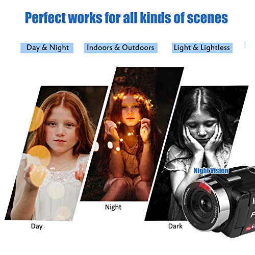 51KD1PhLByL - Video Camera Camcorder, Vlogging Camera Full HD 1080P 30FPS 3'' LCD Touch Screen Vlog Camera IR Night Vision Video Camera for YouTube Videos with External Microphone