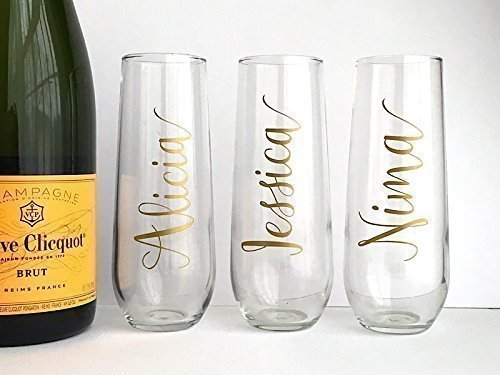 Flutes Custom Color (Personalized Champagne Flutes - Custom Bridal Gifts - Birthday - Bachelorette)