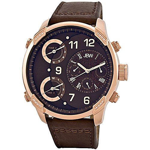 JBW Men's J6248LN The G4 Diamond Blue/Brown Leather Watch