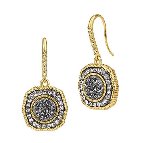 Hematite Druzy Crystal Rhinestones Vintage Gold Tone Dangle Earrings ()