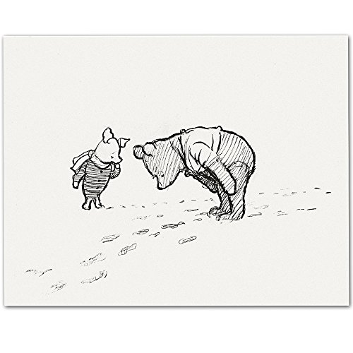 Footprints - Winnie the Pooh and Piglet 11x14 Unframed Nursery Art Print