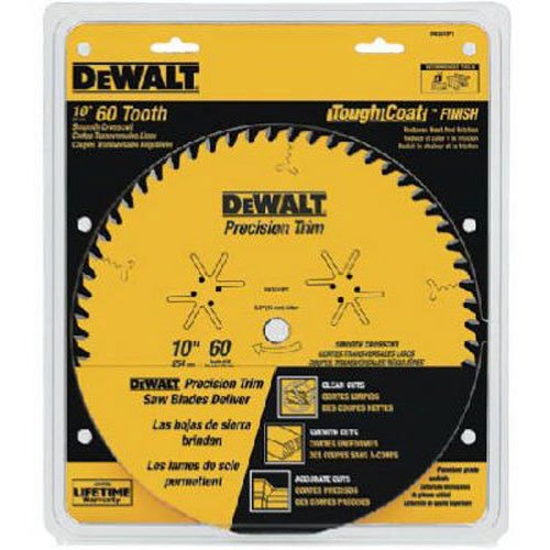 Teeth 5/8 60 Arbor (DEWALT DW3215PT 10-Inch 60 Tooth ATB Crosscutting Saw Blade with 5/8-Inch Arbor and Tough Coat Finish)