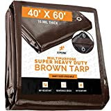 40' x 60' Super Heavy Duty 16 Mil Brown Poly Tarp
