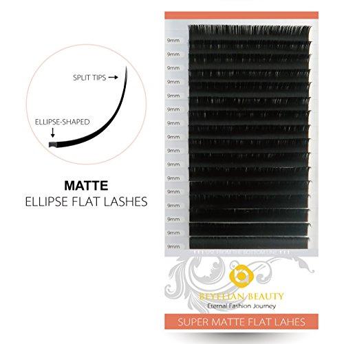 BEYELIAN MATTE Black Ellipse Flat Mink Eyelash Extensions Individual Semipermanent Lash Building D Curl 0.20mm 9mm