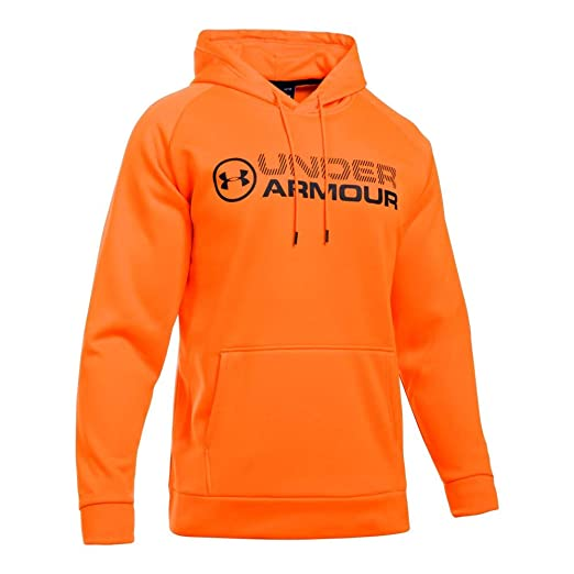 23fed238d Under Armour Men's Storm Armour Fleece Stacked Hoodie,Blaze Orange /Black,  Small