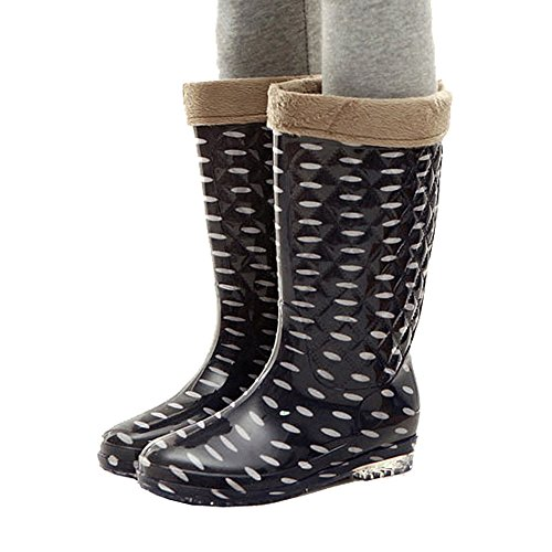 Getmorebeauty White Black Style Women Wellington Mid Calf Snow Rain Boot 5 B(M) US