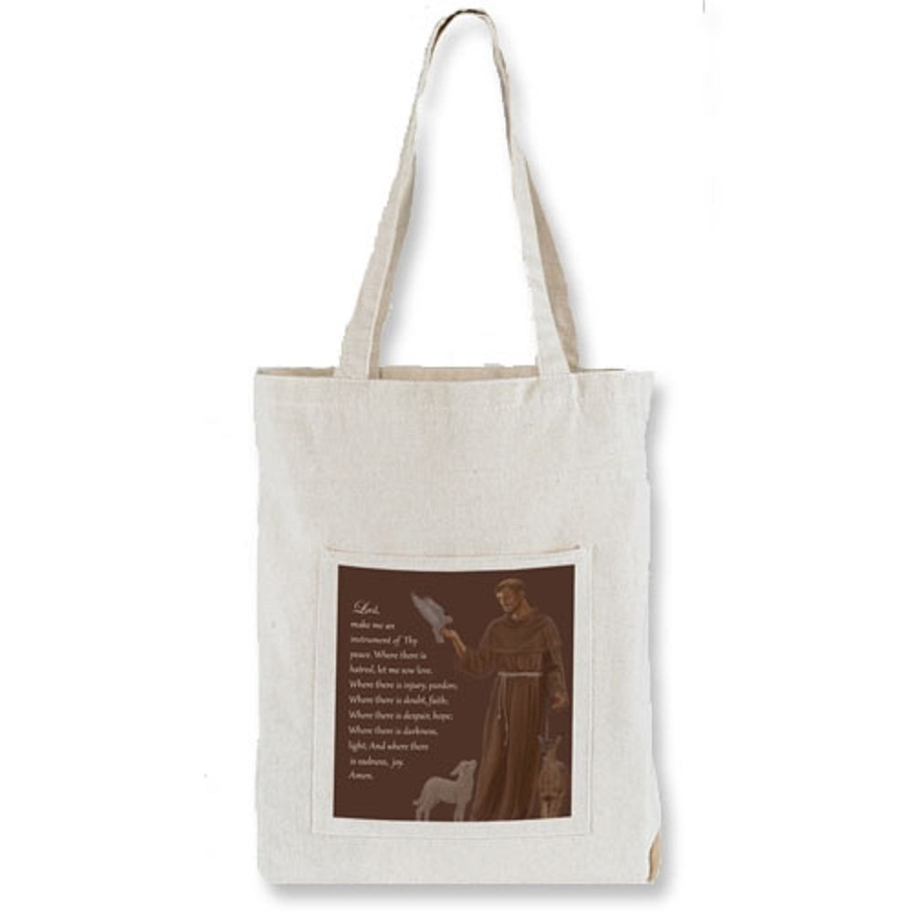 St. Francis Tote Bag with Pocket, 13'' x 14'' H with 3'' Gusset, 12 Pack.