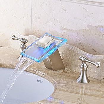 Rozin Glass Waterfall Spout Widespread Bathroom Sink