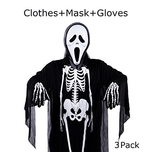 Halloween Costume Skeleton Unisex Scary Costume for Adult Women Men, Set of 3 ( Robe, Gloves, Mask)