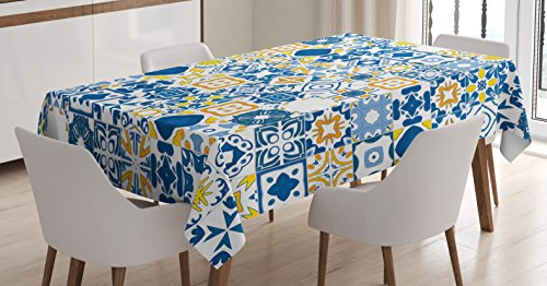 Ambesonne Yellow and Blue Tablecloth, Mosaic Portuguese Azulejo Mediterranean Effect, Rectangular Table Cover for Dining Room Kitchen Decor, 60″ X 90″, Mustard White