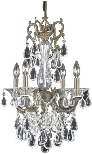 Triarch 32318 Renaissance Collection 4-Light Mini-Chandelier, English Bronze finish with Crystal Beads and Crystal (Renaissance Bronze Chandelier)