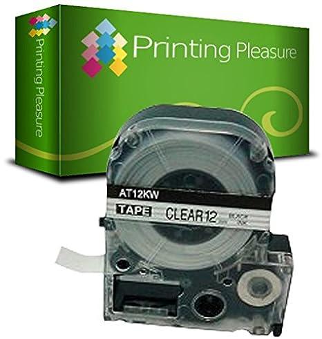 2x Schriftband kompatibel für Epson AT12KW Schwarz auf Farblos (12mm x 8m) für EpsonLabelWorks LW-300, LW-400, LW-500, LM-700, LW-900P, OK200, OK300, OK500P, OK720, OK900P, KingJim TepraPro SR230C, SR530C, SR3900C, SR150, SR180, SR-PBW1, SR-RK1, SR300TF,