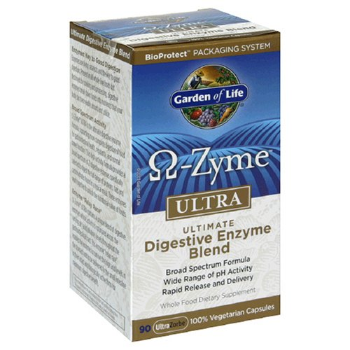 Garden of Life Omega-Zyme Ultra Ultimate Blend enzymes digestives, Capsules, 90-Count Bottle