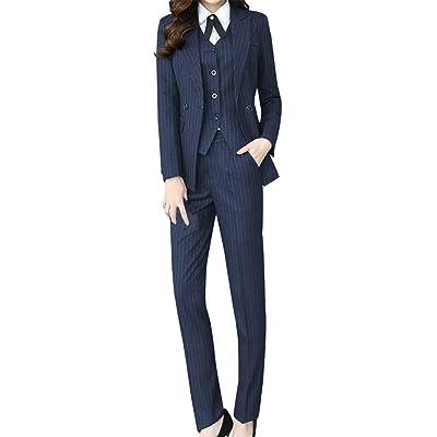 LISUEYNE Women's Three Pieces Office Lady Stripe Blazer Business Suit Set Women Suits Work Skirt/Pant,Vest Jacket: Clothing