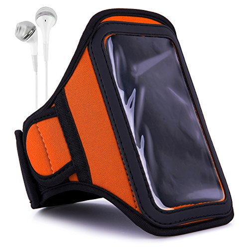 Vangoddy Orange Sweat-Proof Fitness Exercise Workout Armband and in-Ear Headphones for Apple iPod Touch 7th 6th 5th Gen 2019 to 2012