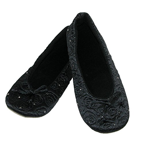 Isotoner Women's Terry Lined Rose Quilted Ballerina Slippers Black 0XtGa