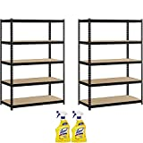 Heavy Duty Garage Shelf Steel Metal Storage 5 Level Adjustable Shelves Unit 72'' H x 48'' W x 24'' Deep with Lysol Cleaner, 2-Pack