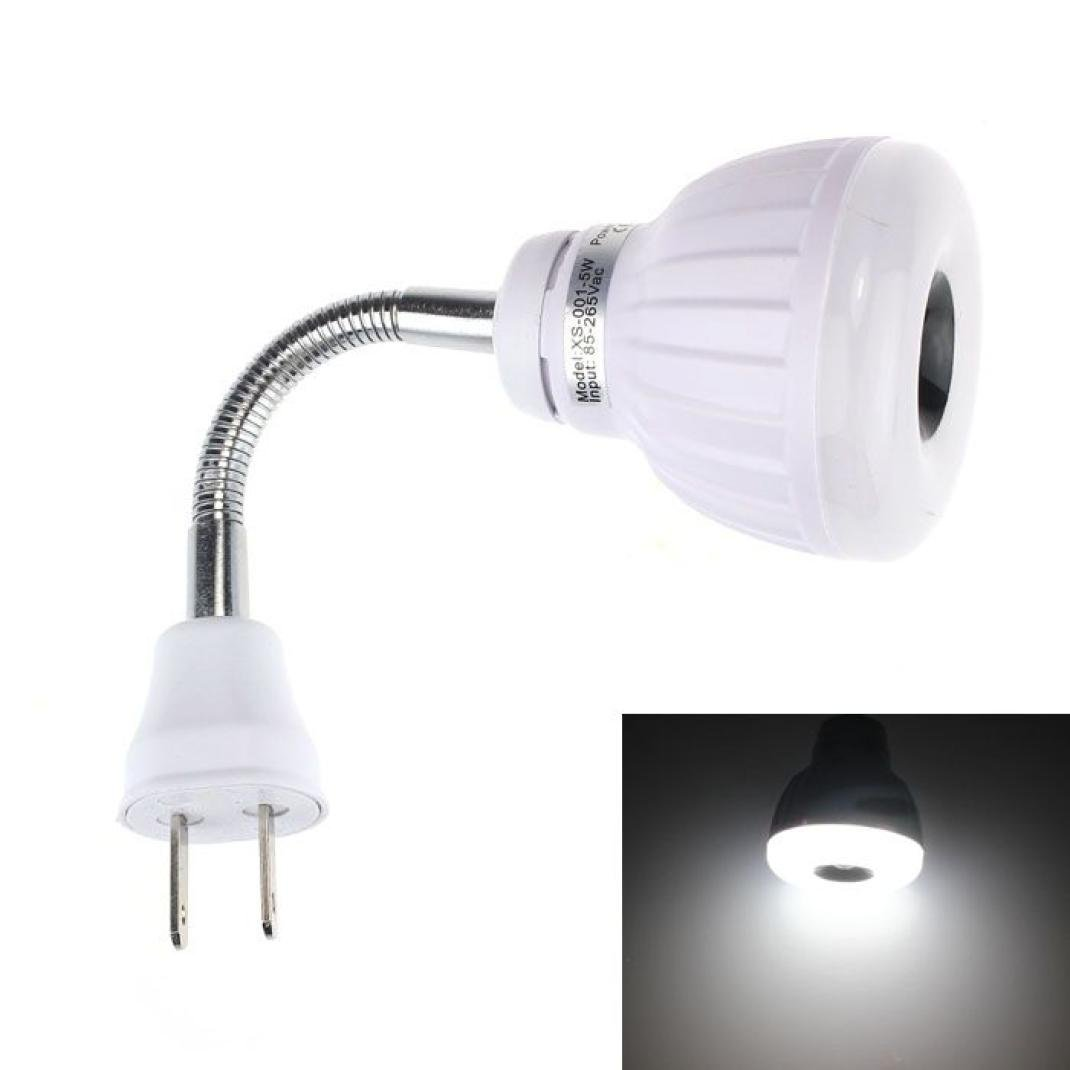 BESSKY AC 110V 220V 5W LED PIR Infrared Sensor Motion Detector Light Bulb Lamp US Plug (Pure White, 17X6X6cm)