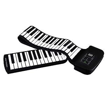 CQ Teclado Piano PortáTil 88 Teclas Silicona Piano De Mano Teclado Plegable: Amazon.es: Deportes y aire libre