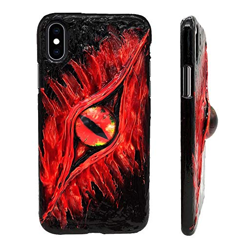 YOOSIDE for iPhone XS Cool Case,Hand-Made Customized Hand-Painted Hard PC Back Cover Case with 3D Cool Artificial Creepy Snake Eyes for Apple iPhone X/iPhone XS 5.8inch(Red) ()