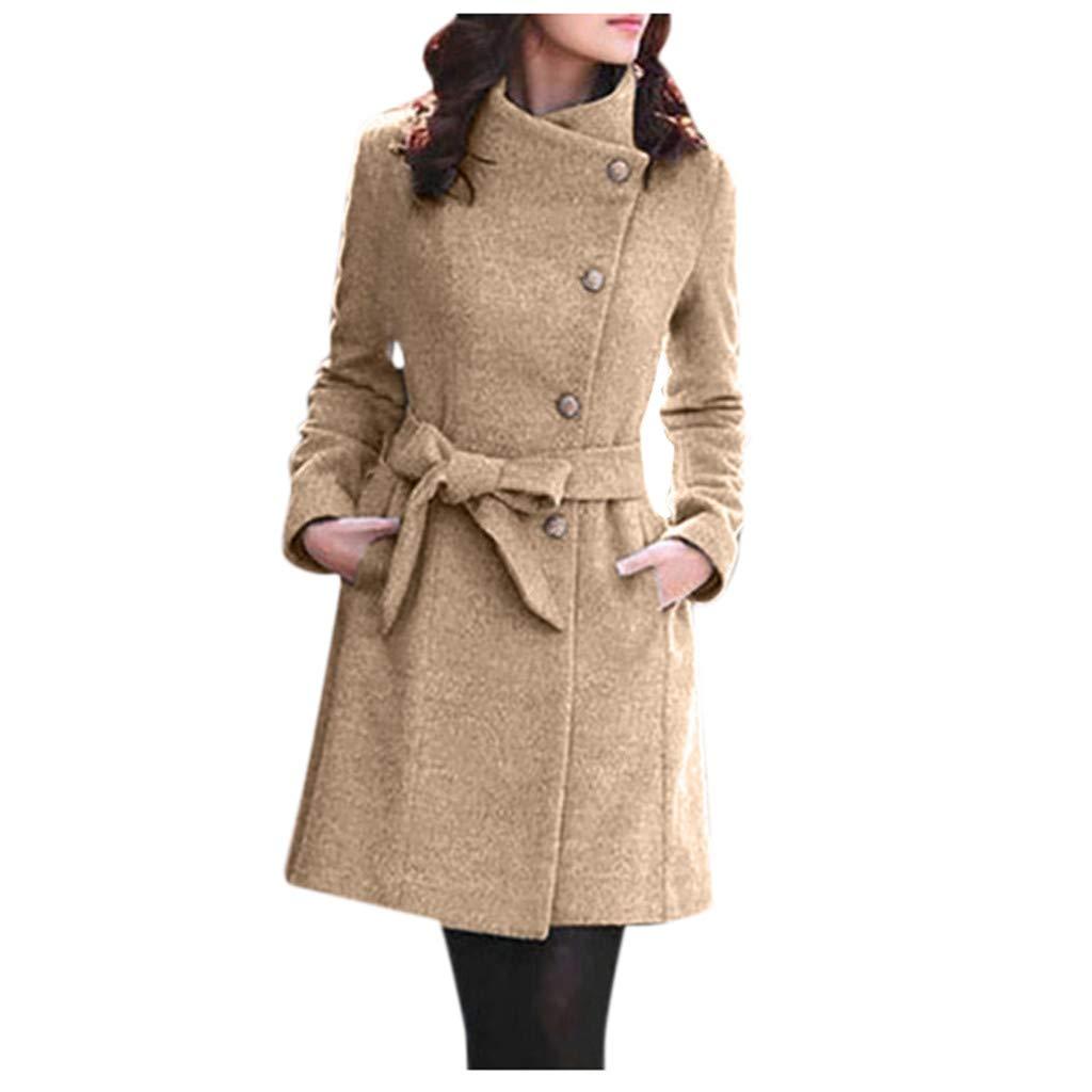 COOKI Womens Casual Parka Jacket Winter Warm Coat Long Jacket Lapel Wool Coat Long Sleeve Oversized Outwear Solid Overcoat