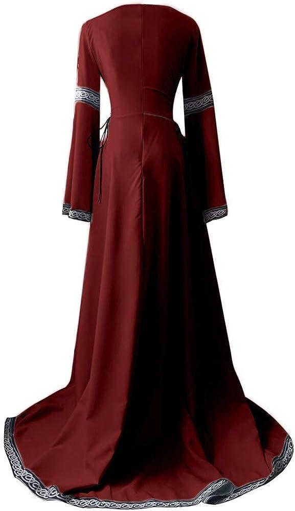 Kaister Maxi Dress Women Vintage Medieval Renaissance Plus Size Fit Irregular Long Sleeve Cosplay Dress