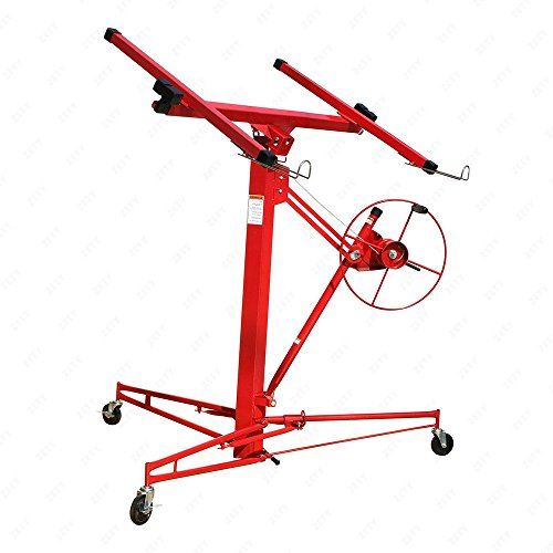 Heavy Duty Drywall & Panel Lift Hoist Professional Red 11Ft Jack Caster Lockable ()