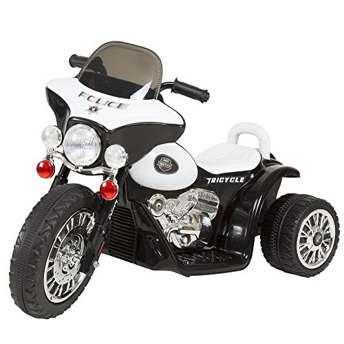 3 Wheel Mini Motorcycle Trike for Kids, Battery Powered Ride on Toy by Rockin ' Rollers  - Toys for Boys and Girls, 2 - 5 Year Old  - Police Car