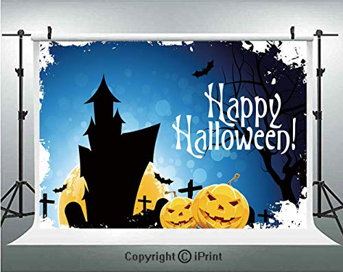 Halloween Photography Backdrops Gothic Ancient Castle Moon Cruciform Graveyard Tree Silhouette Abstract,Birthday Party Background Customized Microfiber Photo Studio Props,10x6.5ft,Blue Black Yellow -