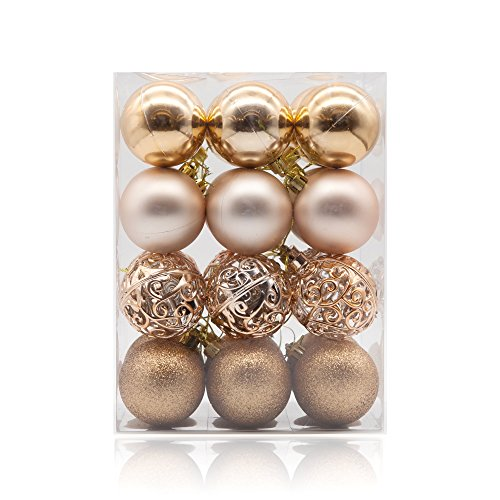 AMS 60mm/24ct Christmas Ball Pierced Trees Pendant Shatterproof Ball Ornament Seasonal Decorations Ideal for Xmas, Holiday and Party Widgets (2.36, Champagne)