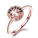 Pink Morganite Rose Gold Engagement Ring 925 Sterling Silver Black CZ Cubic Zirconia Unique Bridal Halo