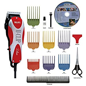 Wahl Deluxe U-Clip Pet Clipper Kit contains everything you need to complete a professional clip on your dog or cat at home. Grooming Kit includes 16 pieces: Professional Clipper, 7 blade attachment guide combs, durable storage case, stainless steel s...