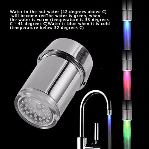 Devonshire Roman Tub Faucet - Shower Light Faucet - 1 Piece 3 Color LED Change Faucet Shower Water Tap Temperature Sensor Water Faucet Glow Left Screw with Converter
