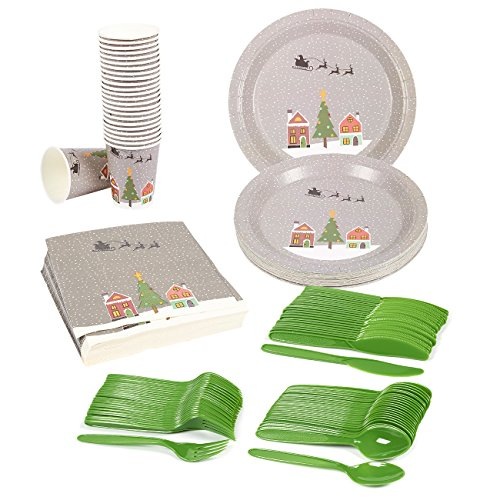 Disposable Dinnerware Set - Serves 24 - Christmas Santa Party Supplies - Includes Plastic Knives, Spoons, Forks, Paper Plates, Napkins, Cups