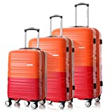 HONCARDO Luggage Sets Bi-color Hardshell Lightweight Spinner Suitcase (20'', 24''& 28'') with TSA, Orange&Red