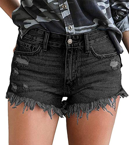 onlypuff Black Distressed Denim Shorts Women Zipper Jean Shorts with Pockets M
