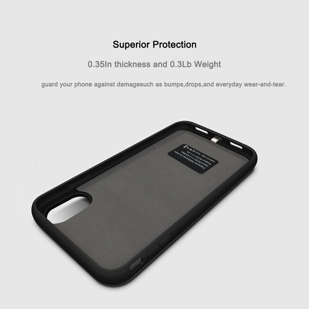 iPhone X Battery Case, ZTESY iPhone X 5000mAh Capacity Extended Charger Case Rechargeable Charging Case with Kickstand for iPhone X -Black by ZTESY (Image #6)
