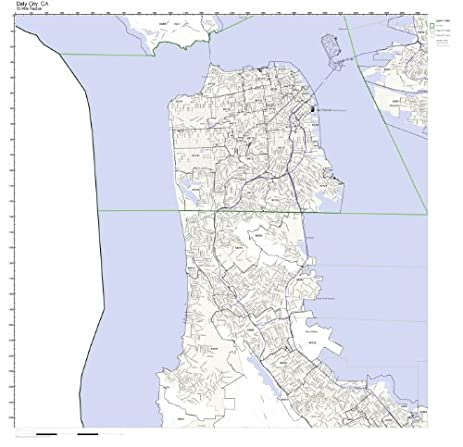 Amazoncom Daly City CA ZIP Code Map Laminated Home Kitchen