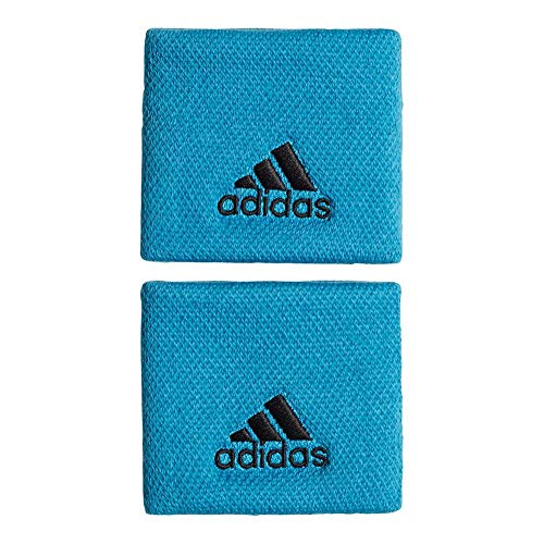 (adidas Tennis Small Wristband - Shock Cyan/Black)