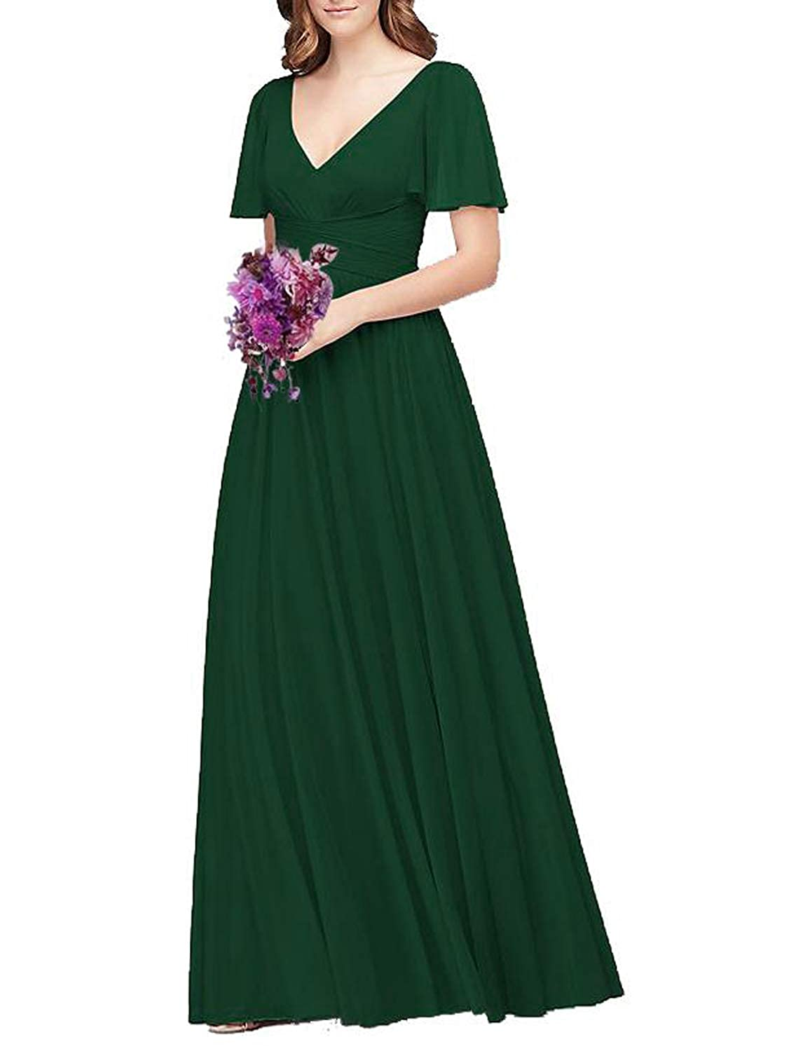 Hunter Green Flutter Sleeve Long Ball Prom Gown for Women Formal Bridesmaid Dress Maxi Skirt