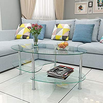 Generic bles C - Juego de Mesa de Cristal Transparente con diseño de estantería Ovalada cromada para Mesa de café: Amazon.es: Electrónica