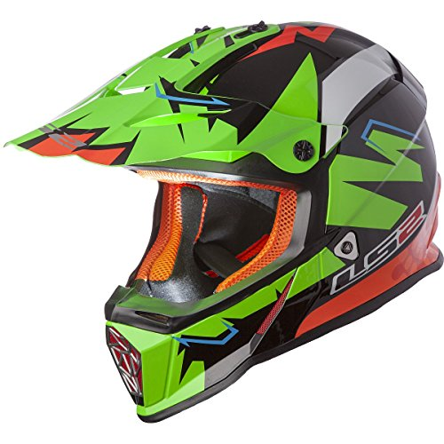 LS2 Helmets Fast Mini Explosive Youth Off-Road MX Motorcycle Helmet (Green, Small) ()
