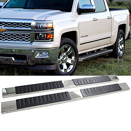 "Mgpro 2pcs New OE Style 6"" Aluminum + Stainless Steel Polished Side Step Nerf Bars + 8 Brackets + Necessary Mounting Hardware For 01-18 Silverado/Sierra Crew Cab Pickup Truck"
