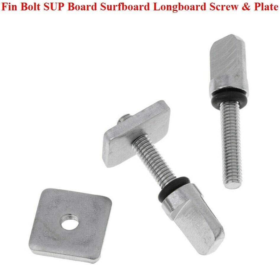 4 Sets Stainless Steel Fin Bolt SUP Board Surfboard Longboard Screw /& Plate