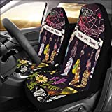 INTERESTPRINT Universal Fit Custom Sketching of Dreamcatcher and Wildflowers Protector Two Front Car Seat Covers Set -100% Breathable