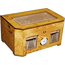 "The Capitol - Cigar Humidor - Birdseye Maple Burl - Beveled Glass Top - Piano High Gloss Shine - 120 Cigars Capacity (14 3/4"" X 9 5/8"" X 7 1/8"")"