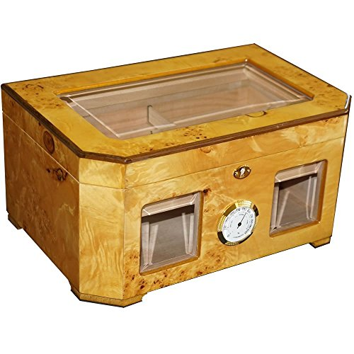 The Capitol - Cigar Humidor - Birdseye Maple Burl - Beveled Glass Top - Piano High Gloss Shine - 120 Cigars Capacity (14 3/4'' X 9 5/8'' X 7 1/8'') by H&H