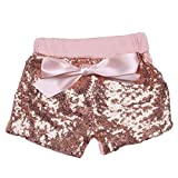 Digirlsor Baby Girls Sequin Shorts Toddler Kids Bowknot Cotton Short Pants Sparkles on Both Sides,1-8Y (7-8 Years /Tag3XL, Rose Gold Sequin)
